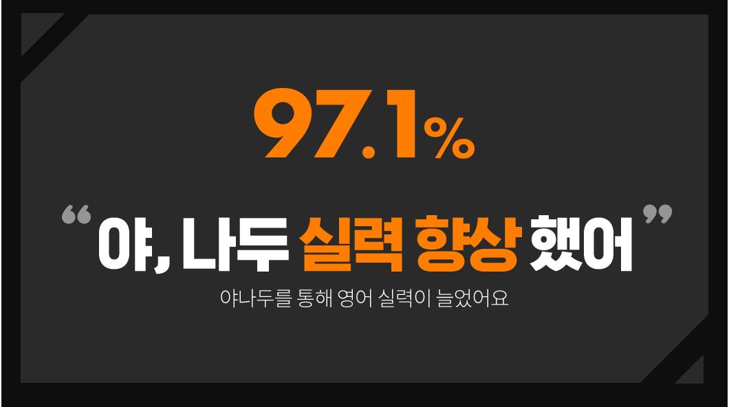 97.1% 야, 나두 실력향상 했어 야나두를 통해 영어 실력이 늘었어요